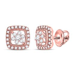 14kt Rose Gold Womens Round Diamond Floral Cluster Earrings 3/8 Cttw