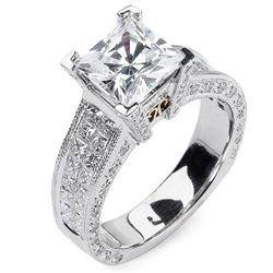 Natural 3.82 CTW Princess Cut Diamond Engagement Ring 18KT Two Tone