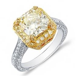 Natural 4.27 CTW Canary Light Yellow Cushion Cut Diamond Engagement Ring 18KT Two-tone