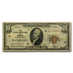 1929 (A-Boston) $10 Brown Seal FRBN VF