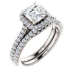 Natural 2.02 CTW Halo Asscher Cut Diamond Engagement Bridal Set 18KT White Gold