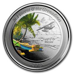 2019 St. Vincent & The Grenadines 1 oz Silver Seaplane (Colored)