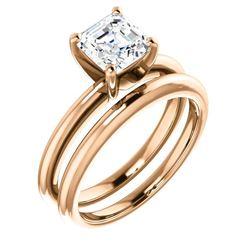 Natural 1.22 CTW Asscher Cut Diamond Engagement Ring 18KT Rose Gold