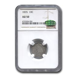 1835 Capped Bust Dime AU-50 NGC CAC