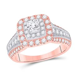 14kt Two-tone Gold Princess Diamond Halo Bridal Wedding Engagement Ring 1-1/2 Cttw