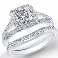 Natural 3.02 CTW Halo Radiant Cut Diamond Split Shank Engagement Set 14KT White Gold