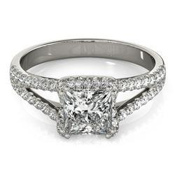 Natural 2.05 ctw Princess Diamond Halo Ring 14k White Gold