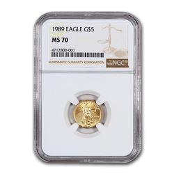 1989 1/10 oz Gold American Eagle MS-70 NGC
