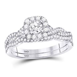 14kt White Gold Round Diamond Twist Bridal Wedding Ring Band Set 5/8 Cttw