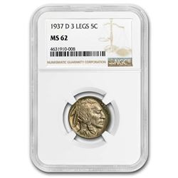 1937-D 3 Legged Buffalo Nickel MS-62 NGC