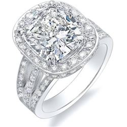 Natural 3.22 CTW Cushion Cut Halo Split Shank Diamond Engagement Ring 18KT White Gold
