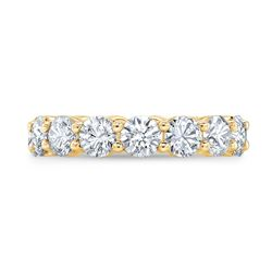Natural 4.02 CTW Round Brilliant Diamond Eternity Band Wedding Ring 14KT Yellow Gold