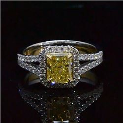 Natural 2.34 CTW Canary Intense Yellow Halo Radiant Cut Diamond Ring 18KT Two-tone