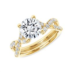 Natural 1.62 CTW Round Brilliant Cut Infinity Shank Diamond Engagement Ring 14KT Yellow Gold