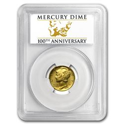 2016-W 1/10 Gold Mercury Dime SP-70 PCGS (FS, Centennial Label)