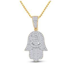 14kt Yellow Gold Mens Baguette Diamond Hamsa Hand Charm Pendant 1/2 Cttw