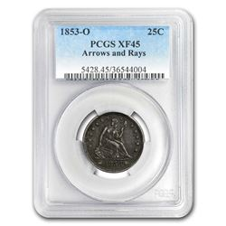 1853-O Liberty Seated Quarter w/Arrows & Rays XF-45 PCGS