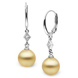 Golden South Sea Round Pearl and Diamond Aerie Collection Dangle Earrings