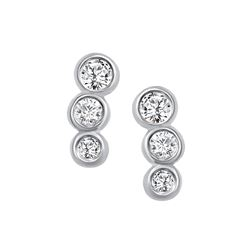 Natural 0.22 CTW Petite Bezel Diamond Earrings 18KT White Gold