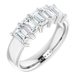 Natural 2.52 CTW Emerald Cut 5-Stone Diamond Ring 14KT White Gold
