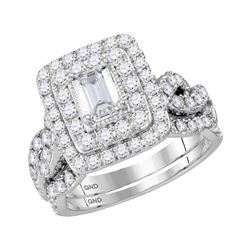 14kt White Gold Emerald Diamond Bridal Wedding Ring Band Set 2 Cttw