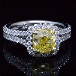 Natural 2.32 CTW Yellow Halo Split Shank Diamond Ring 14KT White Gold
