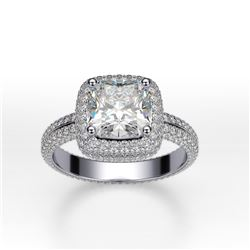 Natural 3.42 CTW Square Cushion Cut Micro Pave Halo Diamond Ring 14KT White Gold