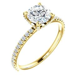 Natural 1.52 CTW Hidden Halo Round Cut Diamond Engagement Ring 14KT Yellow Gold