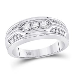 14kt White Gold Mens Round Diamond 3-stone Wedding Band Ring 1/2 Cttw