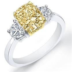 Natural 2.02 CTW Canary Yellow Cushion Cut & Half Moons 3-Stone Diamond Ring 14KT Two-tone