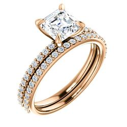 Natural 3.92 CTW Asscher Cut Diamond Ring 18KT Rose Gold