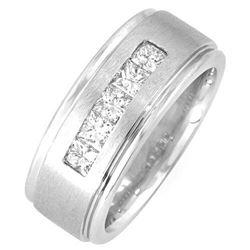 Natural 1.27 CTW Channel Set Men's Diamond Ring 18KT White Gold