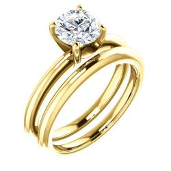 Natural 1.02 CTW Round Cut Solitaire Diamond Ring 18KT Yellow Gold