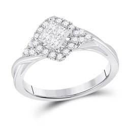 14kt White Gold Womens Princess Diamond Offset Square Fashion Ring 1/2 Cttw