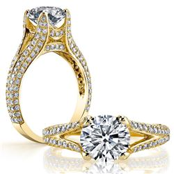 Natural 3.12 CTW Round Cut Split Shank Pave Diamond Ring 18KT Yellow Gold