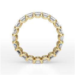 Natural 5.02 CTW U- Setting Emerald Cut Diamond Eternity Ring 18KT Yellow Gold