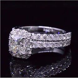Natural 2.12 CTW Cushion Cut Diamond Halo Engagement Ring 18KT White Gold