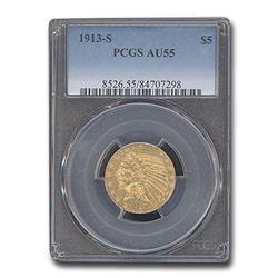 1913-S $5 Indian Gold Half Eagle AU-55 PCGS