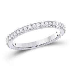 14kt White Gold Womens Round Diamond Eternity Wedding Band 5/8 Cttw