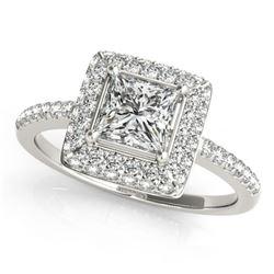 Natural 0.85 ctw Princess Diamond Halo Ring 14k White Gold