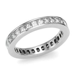 Natural 4.02 CTW Princess Cut Channel Set Diamond Eternity Ring 18KT White Gold