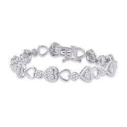 14kt White Gold Womens Baguette Diamond Heart Link Bracelet 2 Cttw