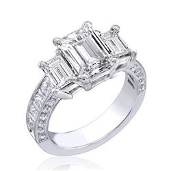 Natural 3.32 CTW Emerald Cut 3-Stone Diamond Ring 18KT White Gold