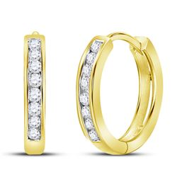 14kt Yellow Gold Womens Round Diamond Channel Set Hoop Earrings 1/4 Cttw