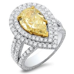Natural 3.42 CTW Canary Yellow Pear Shape Halo Diamond Ring 14KT Two-tone