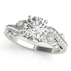 Natural 1 ctw Diamond Solitaire Antique Ring 14k White Gold