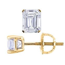 Natural 1.02 CTW Emerald Cut Diamond Stud Earrings 18KT Yellow Gold
