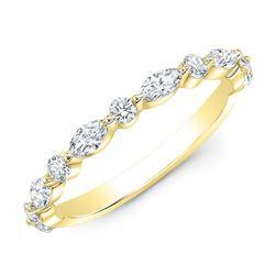 Natural 0.52 CTW Wonderland Diamond Ring 14KT Yellow Gold