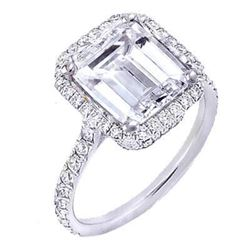 Natural 2.62 CTW U-Setting Emerald Cut Halo Diamond Engagement Ring 14KT White Gold