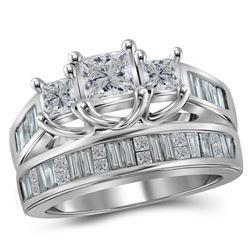 14kt White Gold Princess Diamond 3-Stone Bridal Wedding Ring Band Set 2 Cttw
